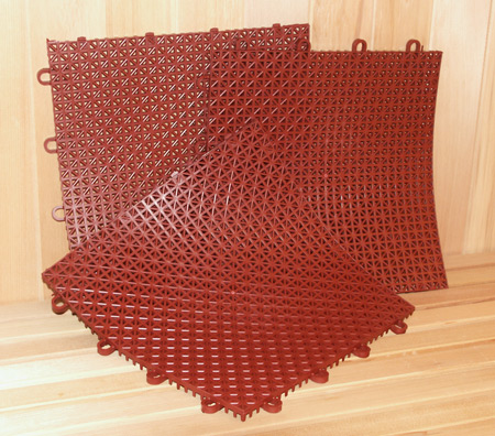 Superdek Interlocking Molded Plastic Floor Tiles In Terra Cotta Diamond Sauna Steam