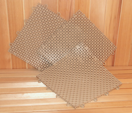 Superbe Superdek Interlocking Molded Plastic Floor Tiles In Tan   Diamond Sauna U0026  Steam