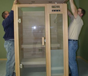 Assembling the roof of the Passport sauna